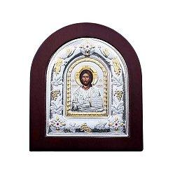 Серебряная икона Иисуса Христа в дереве с позолотой