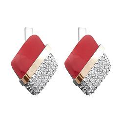 Серебряные серьги Элоиза с золотыми накладками, имитацией коралла и фианитами