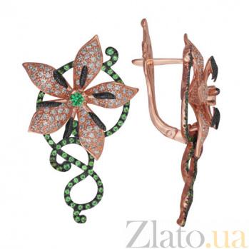 Золотые серьги с белым и зеленым цирконием Королевская орхидея VLT--ТТ249-4