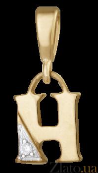 Серебряный подвес с фианитом Буква Н 000025153