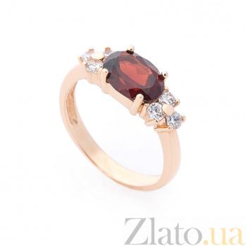 Золотое кольцо Ангола в красном цвете с гранатом и белыми фианитами 000082344