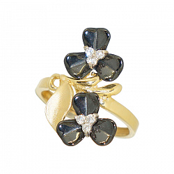 Золотое кольцо с керамикой и цирконием Кларинда 000016197