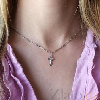 Серебряный крестик Добрый пастырь 000015146