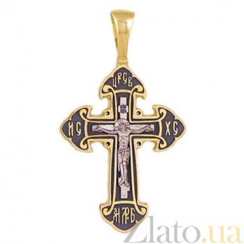 Крестик из желтого золота с чернением Спаси и сохрани HUF--11480-Ч евро