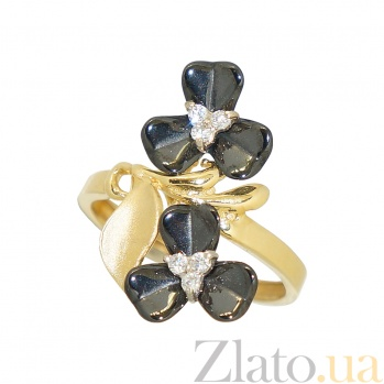 Золотое кольцо с керамикой и цирконием Кларинда 2К764-0025