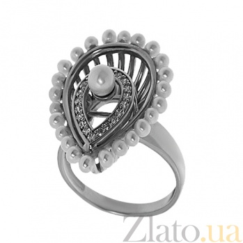 Серебряное кольцо с жемчугом Венера TNG--330873С