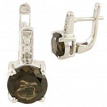 Серебряные серьги Карина с раухтопазом и фианитами