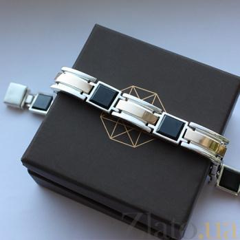 Серебряный браслет Подкова с золотыми вставками и ониксом, 11мм 000008265