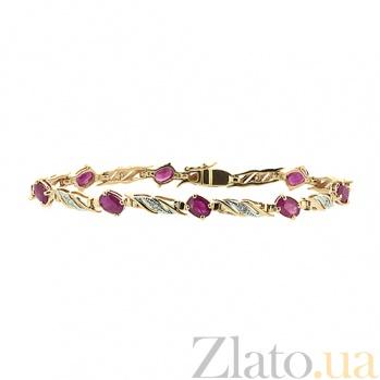 Золотой браслет Блюз с рубинами и бриллиантами ZMX--BCR-6098_K