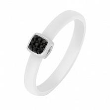 Кольцо в белом золоте Сельма с керамикой и бриллиантами