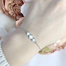 Серебряный браслет Три клевера с белой эмалью в стиле Ван Клиф