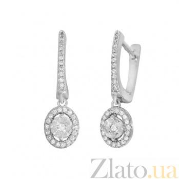 Серебряные серьги-подвески Лалита с кристаллами циркония 000081949