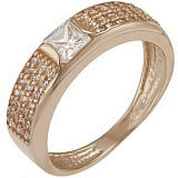 Золотое кольцо Эмили с кварцем и фианитами