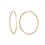Серебряные серьги-кольца Колумбия в позолоте с алмазной насечкой