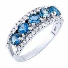 Серебряное кольцо Милена с топазом лондон и фианитами