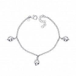 Серебряный браслет с подвесками в якорном плетении 000133749