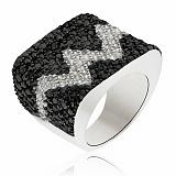 Серебряное кольцо Сердцебиение с кристаллами Swarovski