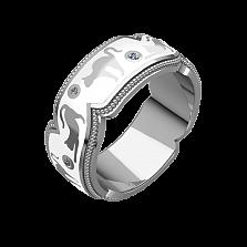 Женское золотое обручальное кольцо Gatti с бриллиантами и белой эмалью