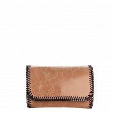 Кожаный клатч Genuine Leather 1010 цвета молочный шоколад с цепочкой и декоративной строчкой по краю