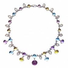 Колье в белом золоте с бриллиантами и цветными драгоценными камнями Letizia