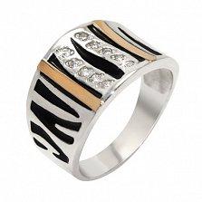 Серебряное кольцо с золотой вставкой и фианитами Мелисса