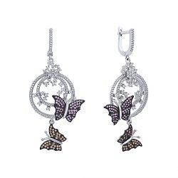 Серебряные серьги-подвески Летние бабочки с усыпкой из розовых фианитов, белых и цвета шампань