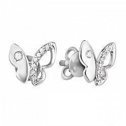 Серьги-пуссеты из белого золота в виде бабочек с фианитами 000130485
