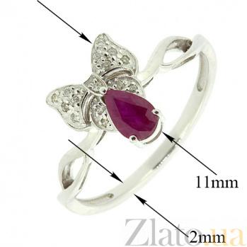 Золотое кольцо в белом цвете с бриллиантами и рубином Бонна ZMX--RDR-5539w_K