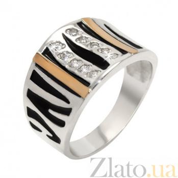 Серебряное кольцо с золотой вставкой и фианитами Мелисса BGS--689к