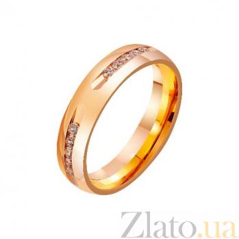 Золотое обручальное кольцо Удивительная любовь с фианитами TRF--4121210