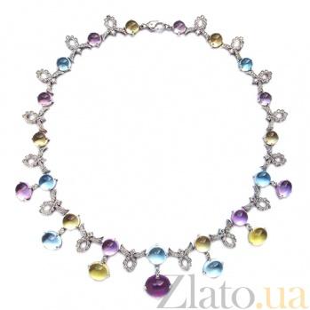 Колье в белом золоте с бриллиантами и цветными драгоценными камнями Letizia ZMX--NDAmTTy-00484w