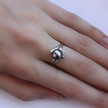 Кольцо из белого золота Амелия с черным жемчугом и бриллиантами