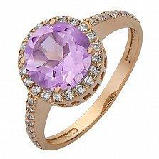 Золотое кольцо Делорис с аметистом и фианитами