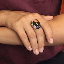 Серебряное кольцо Шанти с имитацией опала