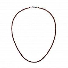 Коричневый крученый шелковый шнурок на шею Браун лайн с серебряной застежкой