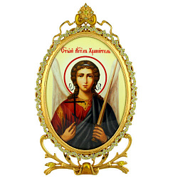 Серебряная икона с позолотой и желтыми фианитами Ангел Хранитель 000004148