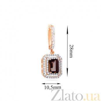 Золотые серьги с дымчатым кварцем и фианитами Роксен SUF--110285Пкр