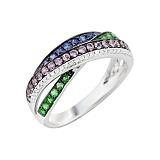 Золотое кольцо с сапфирами, цаворитами и бриллиантами Сенсация