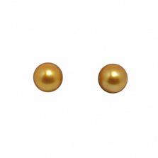 Серебряные пуссеты Кларисса с шариками золотистых жемчужин 9-9,5мм