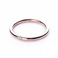Обручальное кольцо из красного золота Вместе навсегда с бриллиантом