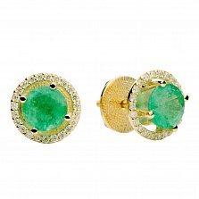 Золотые пуссеты с изумрудами и бриллиантами Арина
