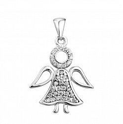 Серебряный кулон-ангел с кристаллами Swarovski 000106956
