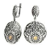 Серебряные серьги-подвески со вставками золота Круиз