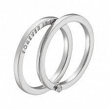 Кольцо в белом золоте Вечная любовь с фианитом