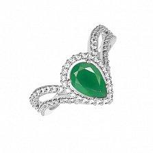 Серебряное кольцо Катарина с зеленым агатом и фианитами
