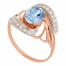 Золотое кольцо с топазом и фианитами Вивиана