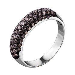 Кольцо из белого золота с черными бриллиантами 000136051