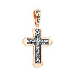 Православный серебряный крестик с позолотой и чернением 000132095