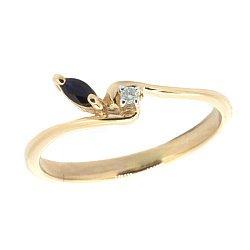 Золотое кольцо в красном цвете с бриллиантом и сапфиром 000021187