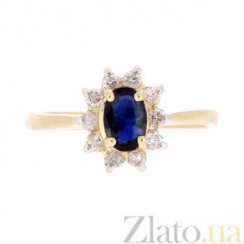 Золотое кольцо Малинка в желтом цвете с сапфиром и бриллиантами ZMX--RS-4235y_K